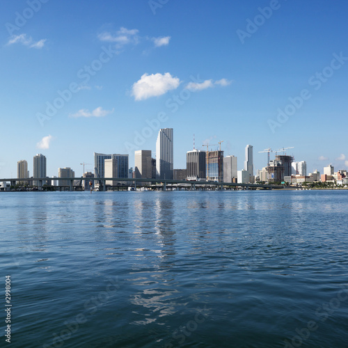 Waterfront skyline of Miami, Florida, USA.