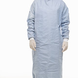 male wearing scrubs and medical latex gloves. poster