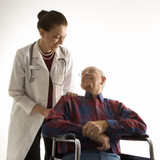 doctor looking at an elderly man in wheelchair. poster