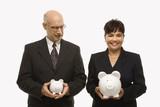 businesspeople holding piggybanks. poster