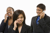 businesswomen and businessman talking on cell phones. poster