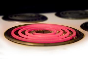 closeup of red hotplate