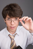 young businessman with glasses poster