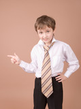 young businessman showing something poster