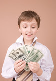 young businessman showing money poster