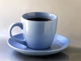 a blue cup of strong black coffee poster