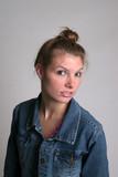 cute woman in bluejean jacket poster