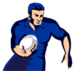 rugby player running with ball blue