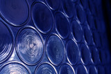 blue circular glass poster