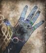 Leinwanddruck Bild chakra hands