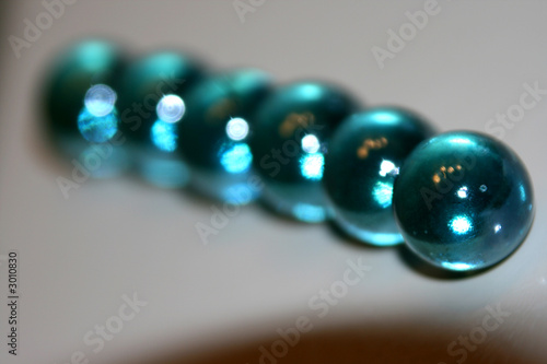 blue marbles lined up