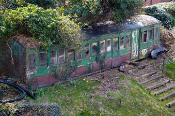 abandoned train carriage