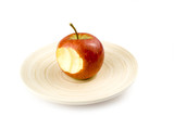 nibbled stripped apples on white background poster