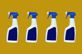 bottles of cleaning product. bleach. disinfectant poster