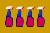 bottles of cleaning product. bleach. disinfectant. poster