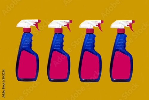 poster of bottles of cleaning product. bleach. disinfectant.