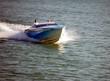 blue motor boat