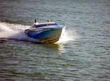 blue motor boat poster