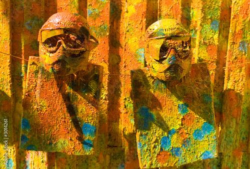 Leinwandbild Motiv two paintball sport masks