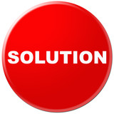 red icon with symbol of solution poster