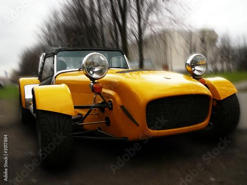 Foto op Canvas Snelle auto s yellow oldtimer1