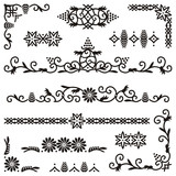 four retro style decorative ornamental filigree frames poster