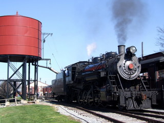 steam engine at water tank