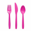 vibrant pink plastic  fork, knife and spoon