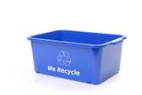 blue plastic disposal bin poster