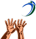 rugby 2 hands catching ball colour poster