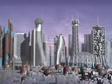 3d model of sci-fi city with futuristic skyscraper poster