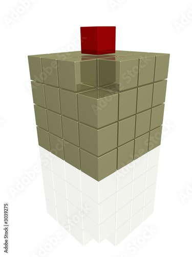 one individual red cube on gold boxes