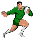 rugby fending cartoon style green poster