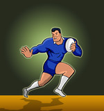 rugby fending cartoon style green bh poster