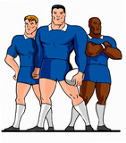 rugby 3 players standing cartoon style poster