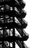 silhouette of fire escape staircase poster