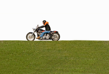 isolated man on motorcycle biker gangster on white