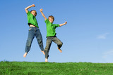 happy children jumping for joy poster