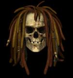 grunge skull with dreadlocks poster