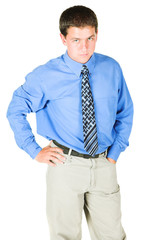 young adult businessman standing very serious