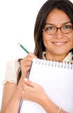 business woman writing on a notepad poster