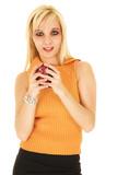 blonde businesswoman in short skirt poster