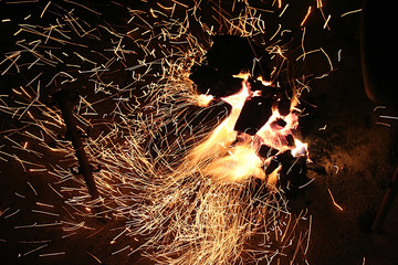 lots of sparks and fire
