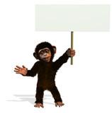 cartoon chimp holding blank sign poster