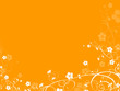 floral decorative element with orange background