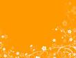 floral decorative element with orange background