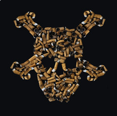 cigarette butts skull
