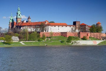 Wawel - Royal castle over the Vistula River in Krakow (Poland)