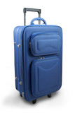 Blue travel suitcase - isolated poster