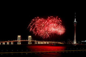 celebration of new year with fireworks